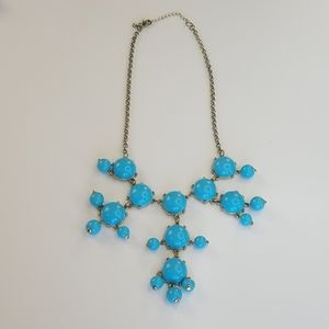 Vintage Blue Gold Resin Bobble Statement Necklace